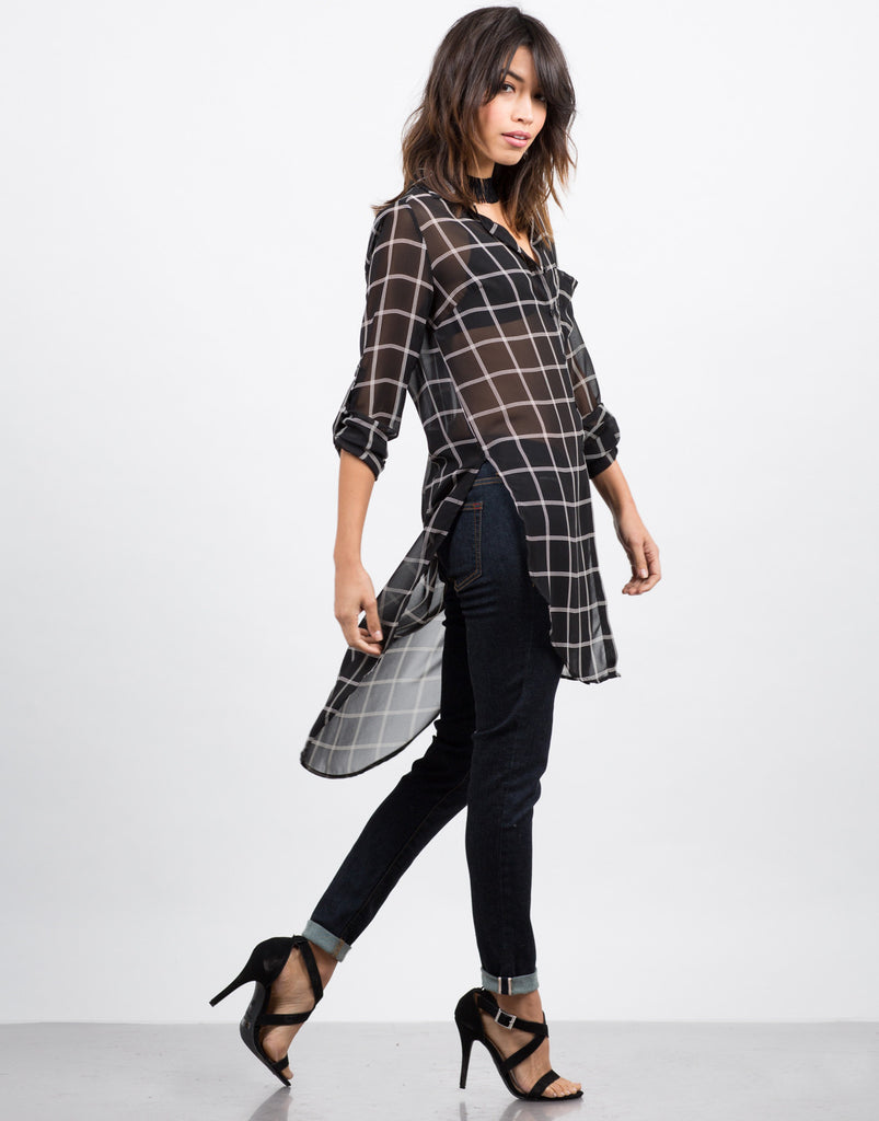 Stay on Grid Tunic Blouse - 2020AVE