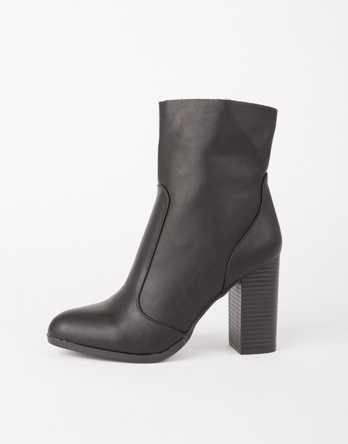 Stretch Trim Leather Boots