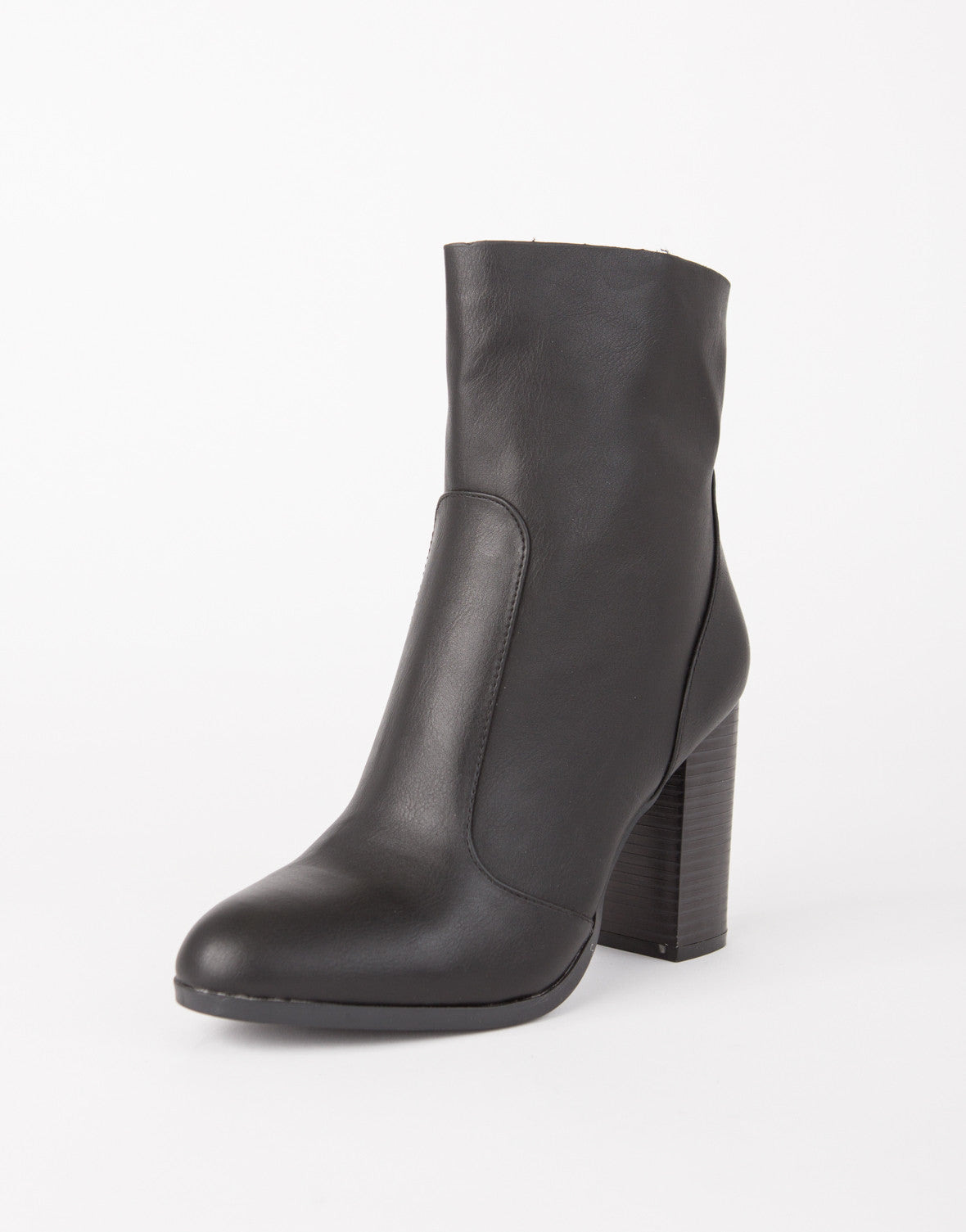 Stitch Trim Leather Boots