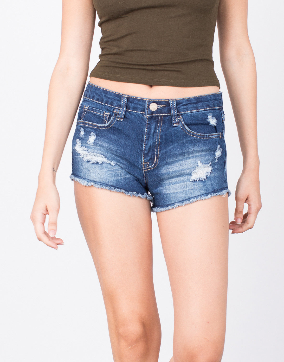 Detail of Stitched and Frayed Denim Shorts