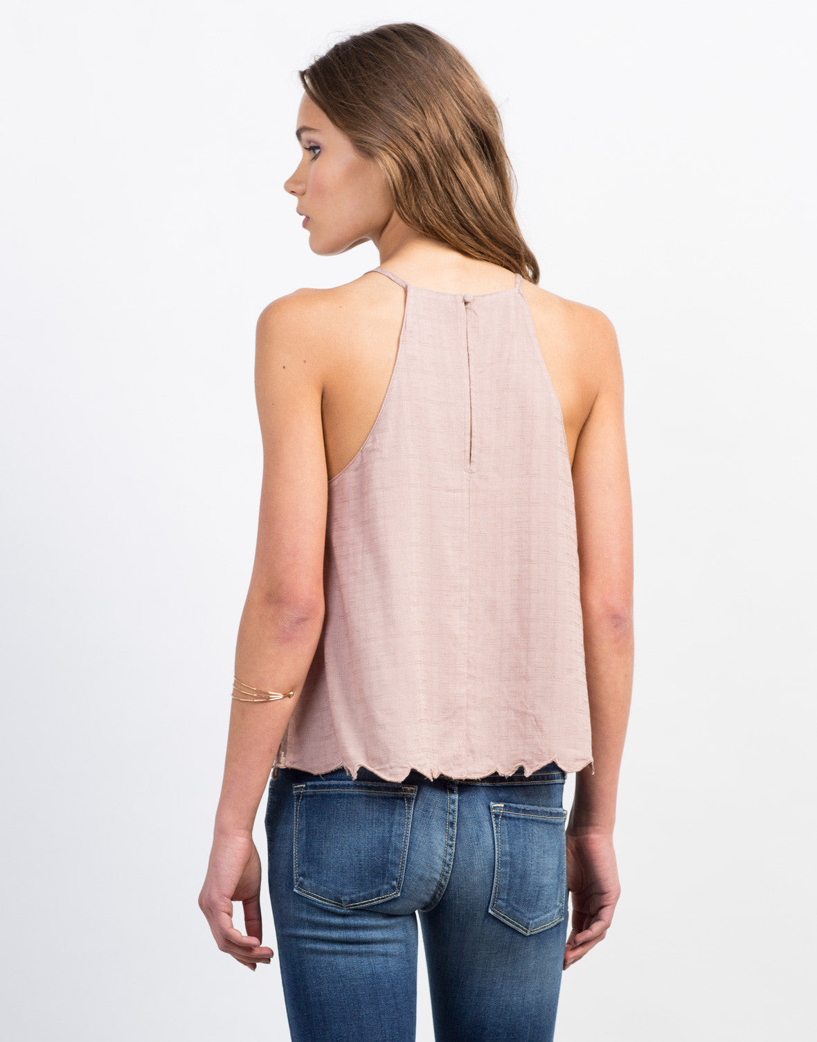 Back View of Stitched Lace Cami Top