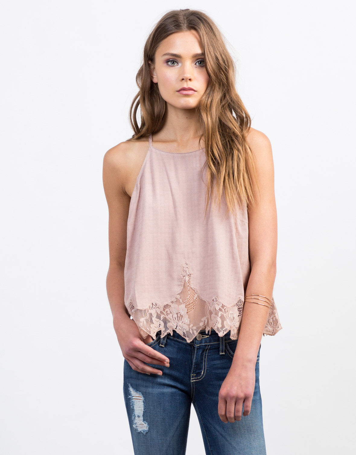Front View of Stitched Lace Cami Top