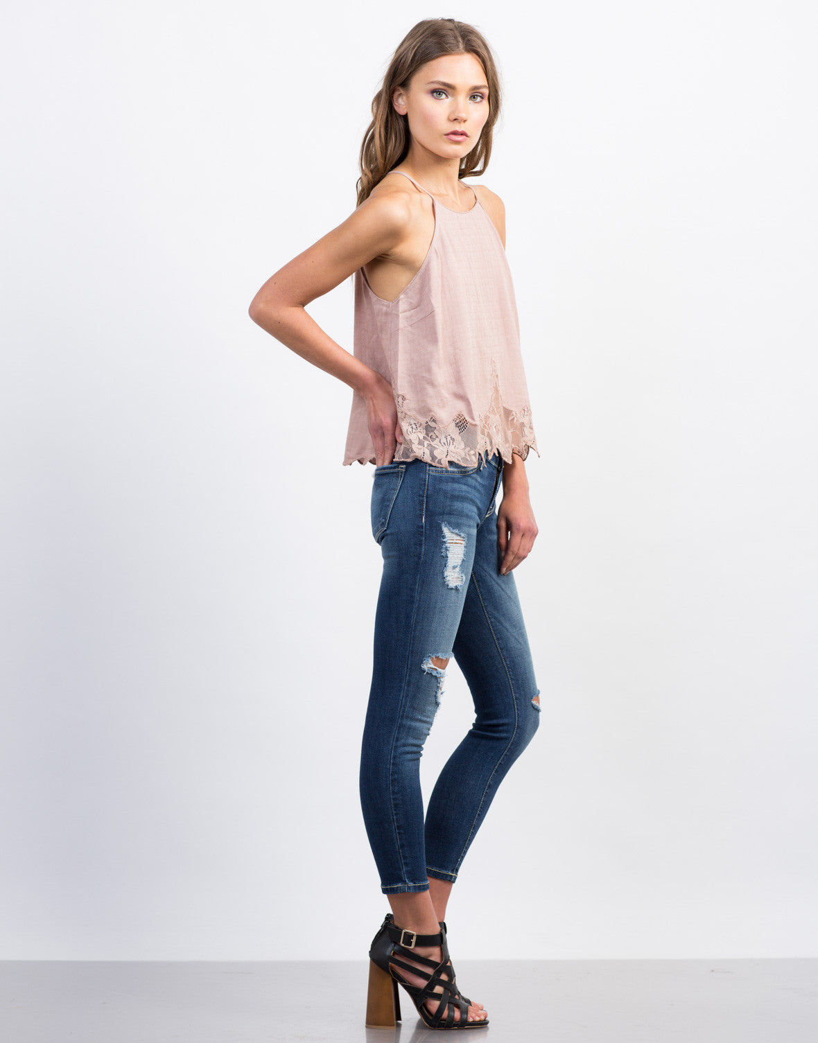 Side View of Stitched Lace Cami Top