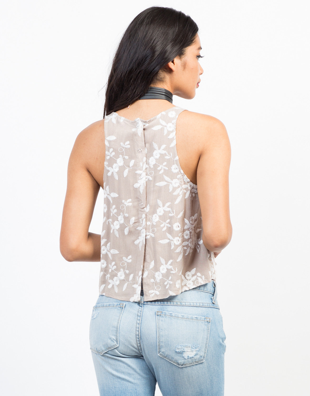 Back View of Stitched Up Floral Tank