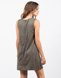 Back View of Stitched Suede Dress