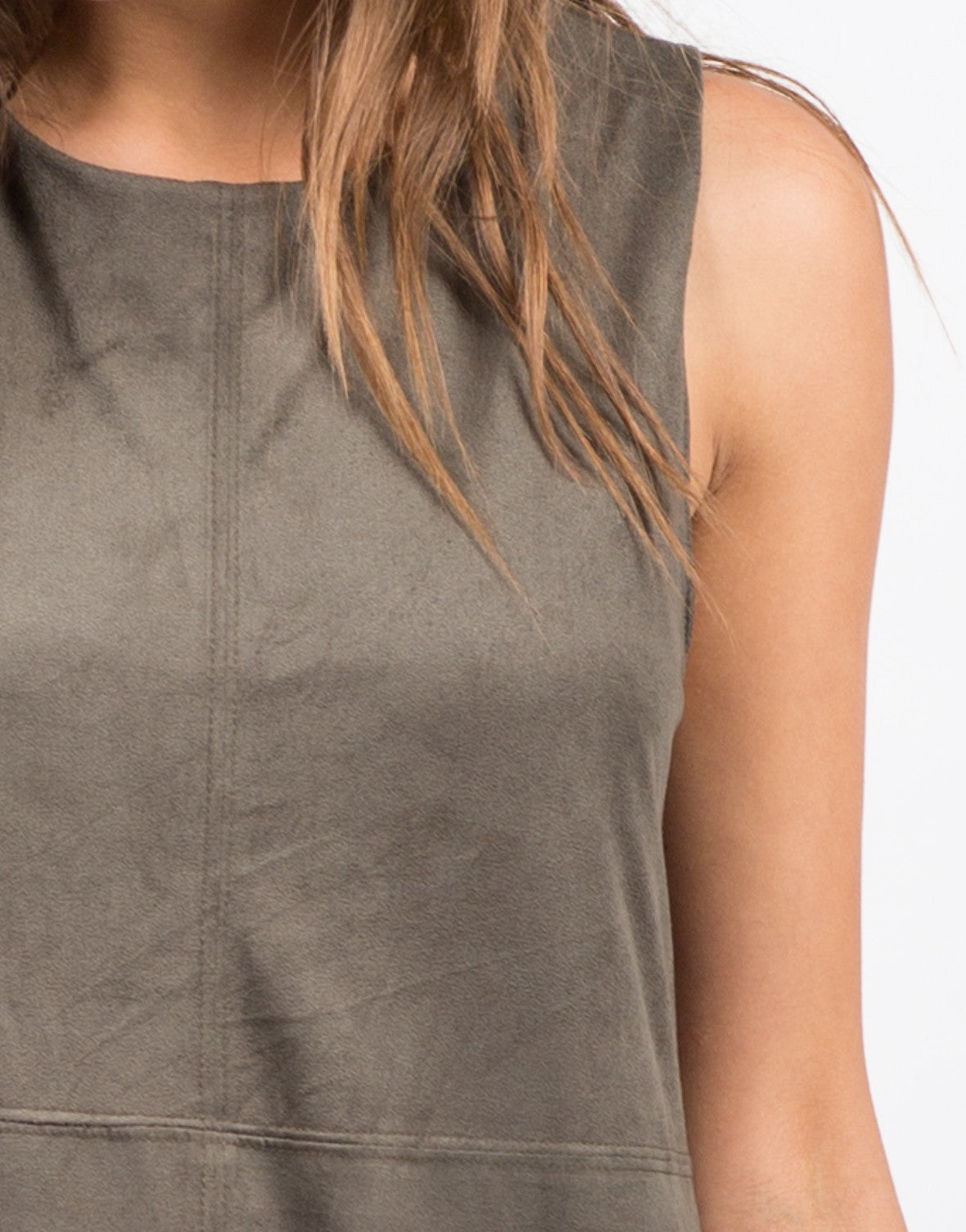 Detail of Stitched Suede Dress