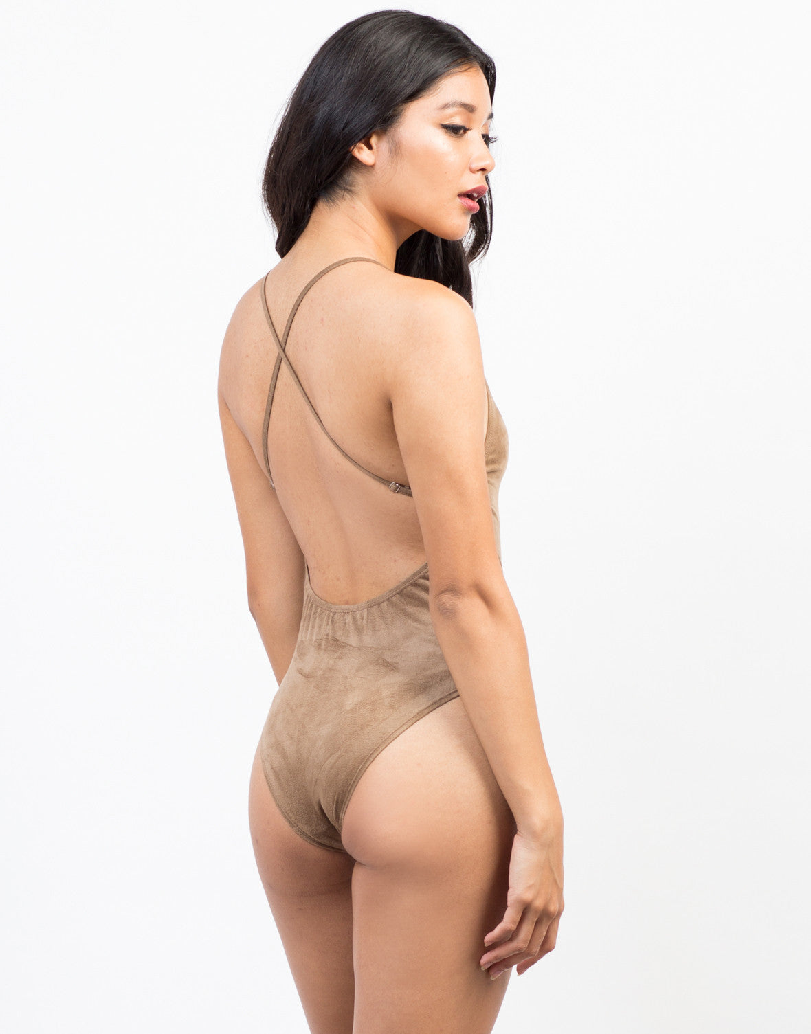 Back View of Strap Back Suede Bodysuit