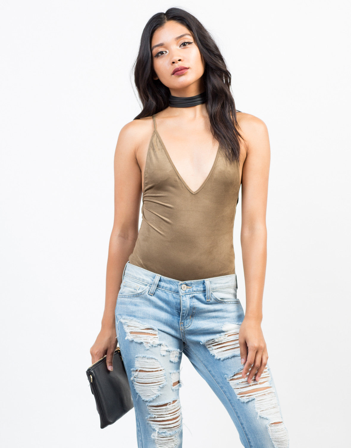Front View of Strap Back Suede Bodysuit