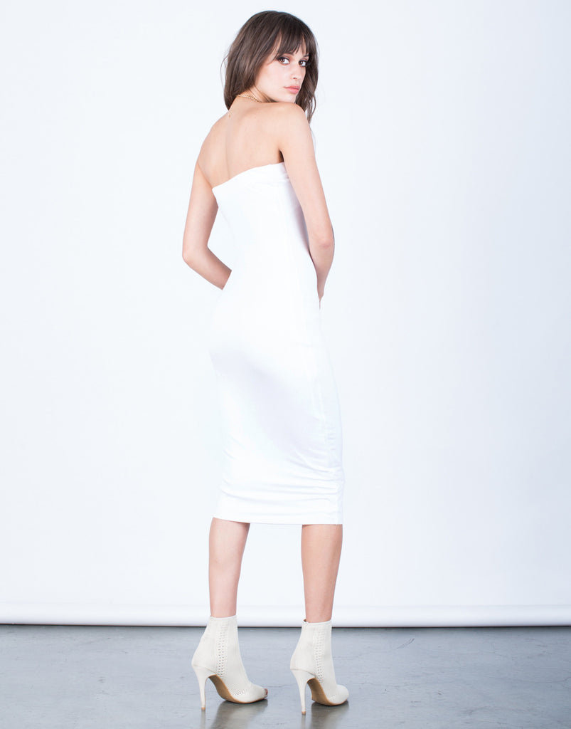 Back View of Strapless Bodycon Dress