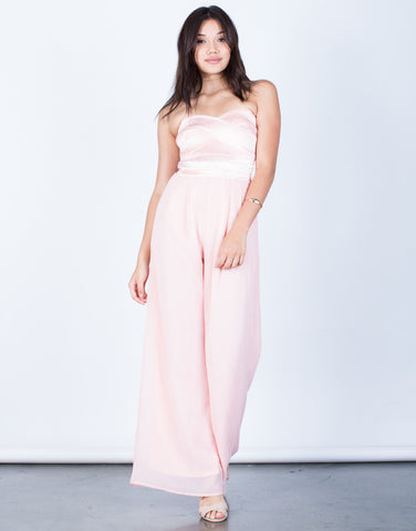 Front View of Strapless Chiffon Jumpsuit