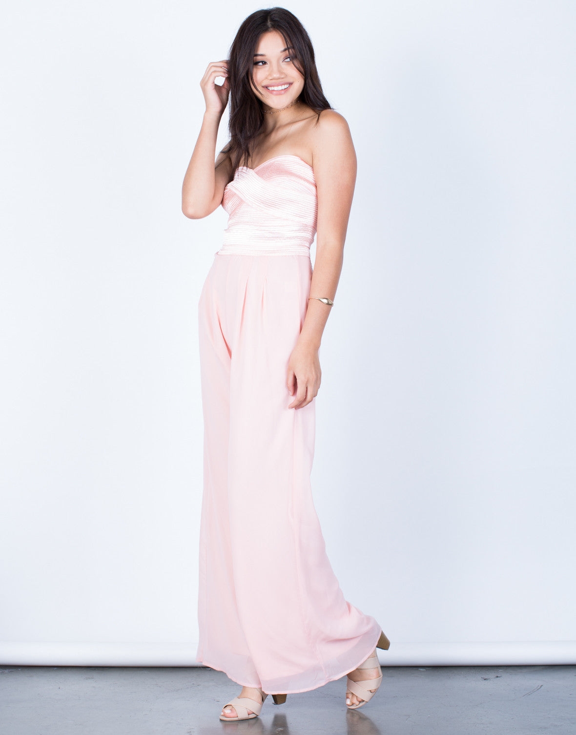 Side View of Strapless Chiffon Jumpsuit