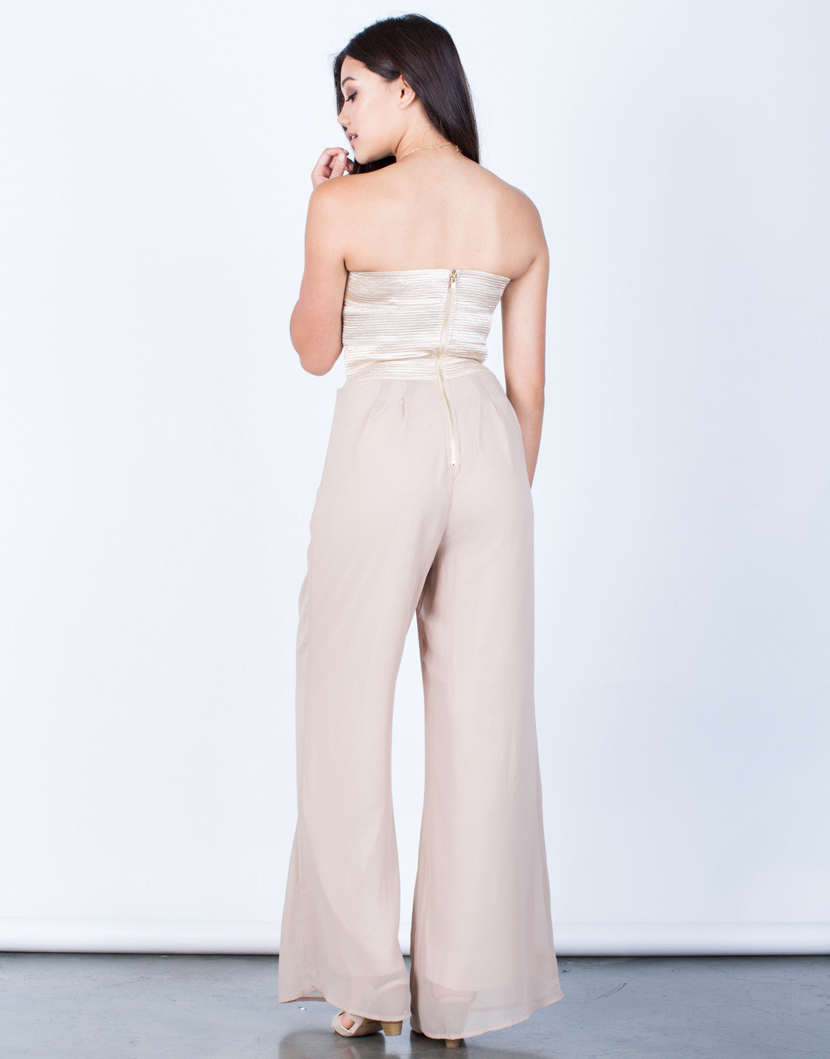Back View of Strapless Chiffon Jumpsuit