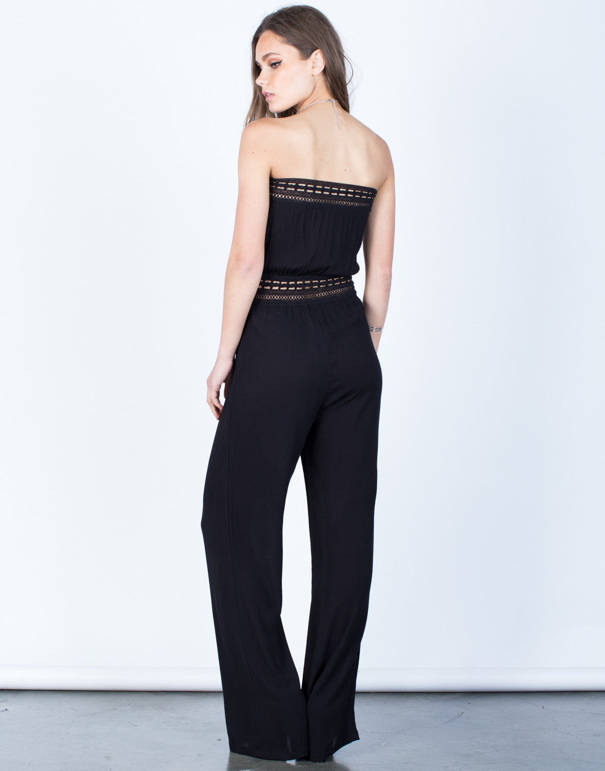 Back View of Strapless Crochet Jumpsuit