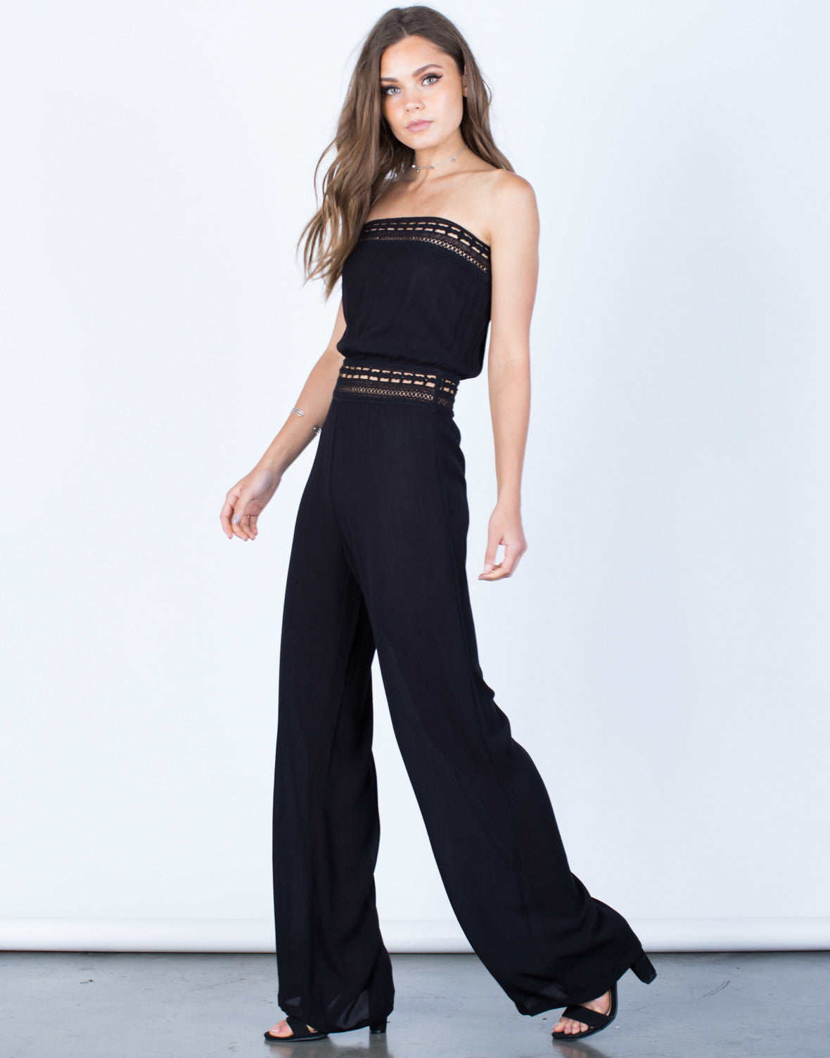 Side View of Strapless Crochet Jumpsuit