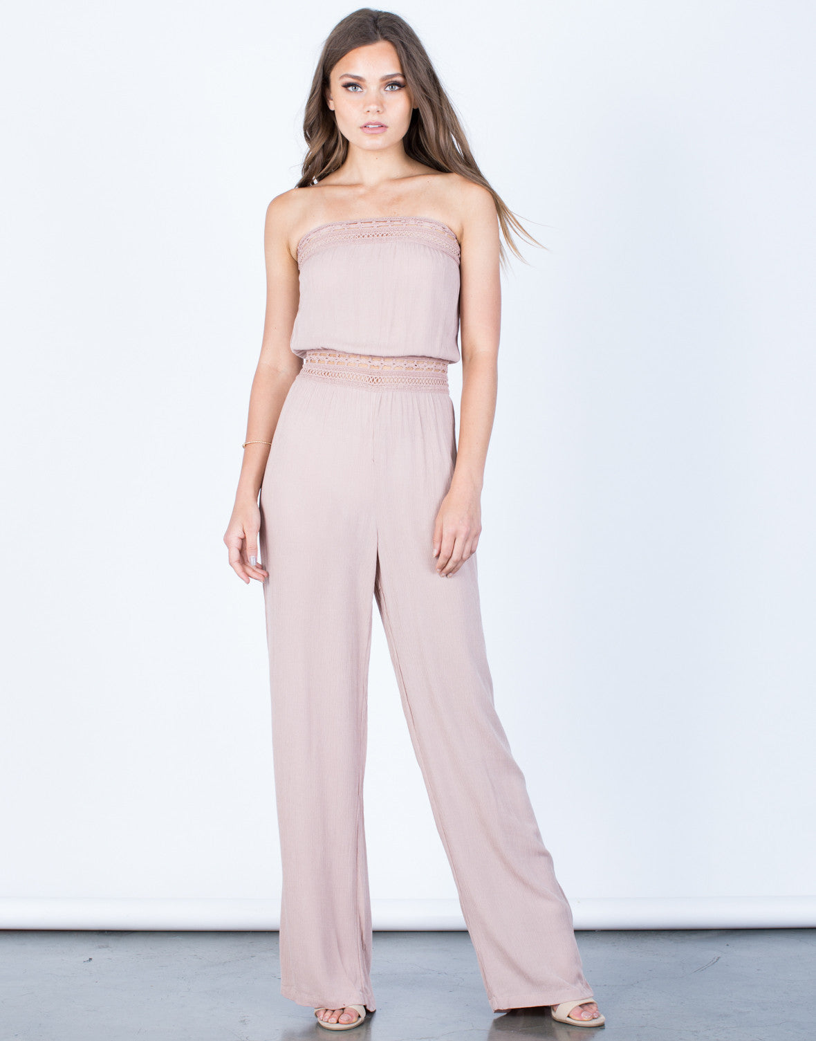 Front View of Strapless Crochet Jumpsuit