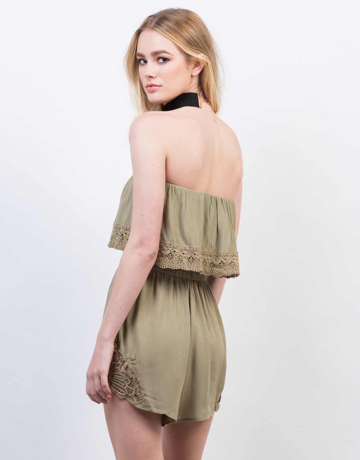 Back View of Strapless Crochet Romper