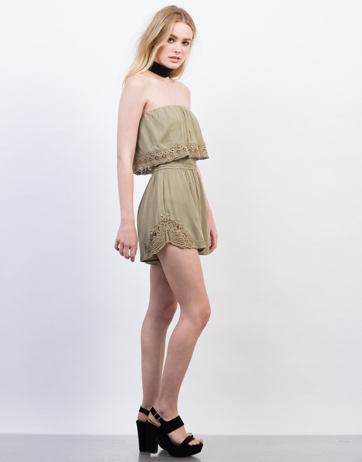 Side View of Strapless Crochet Romper
