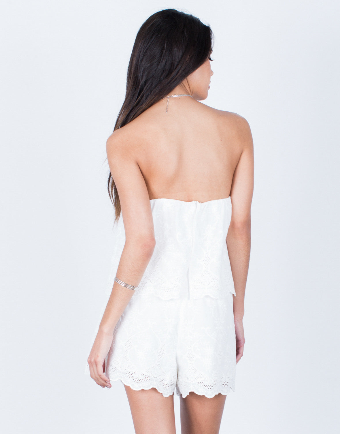 Back View of Strapless Embroidered Romper