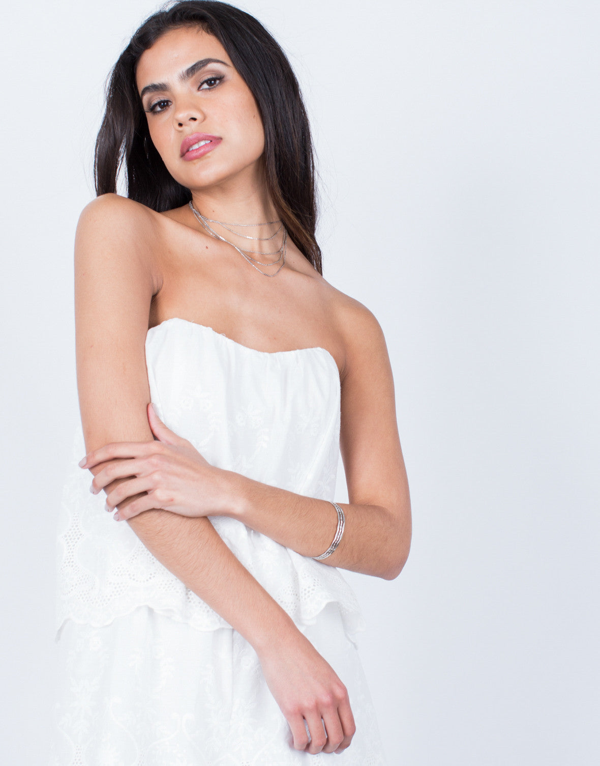 Detail of Strapless Embroidered Romper