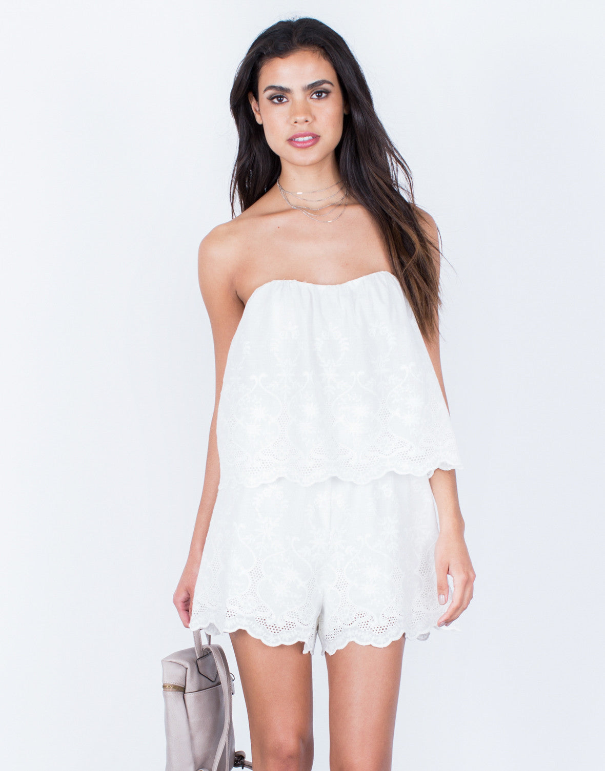 Front View of Strapless Embroidered Romper