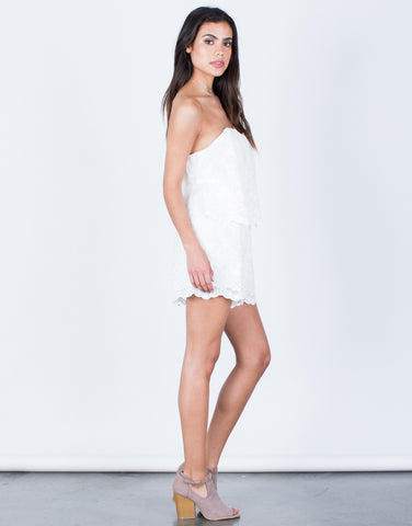 Side View of Strapless Embroidered Romper