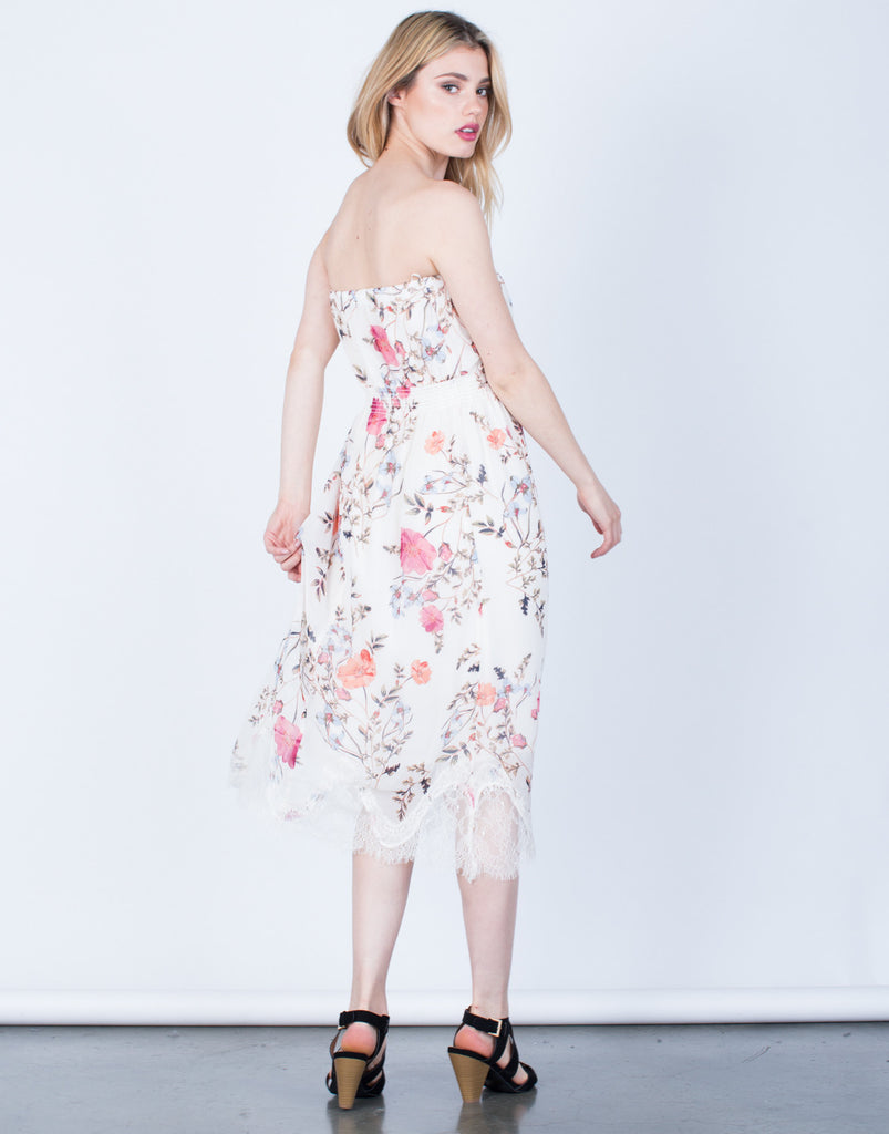 Back View of Strapless Floral Printed Dress