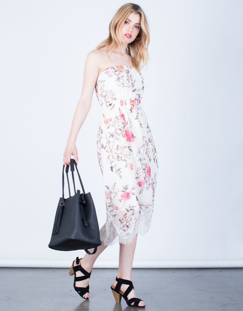 Front View of Strapless Floral Printed Dress