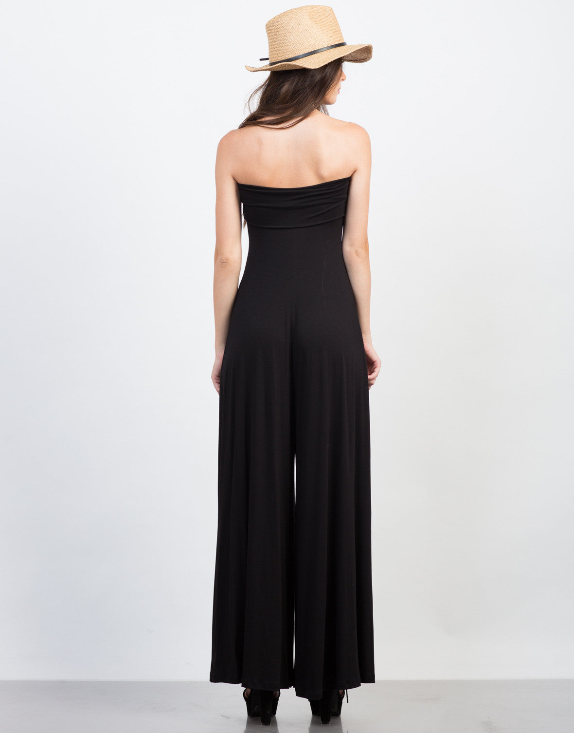 Back View of Strapless Jersey Jumpsuit
