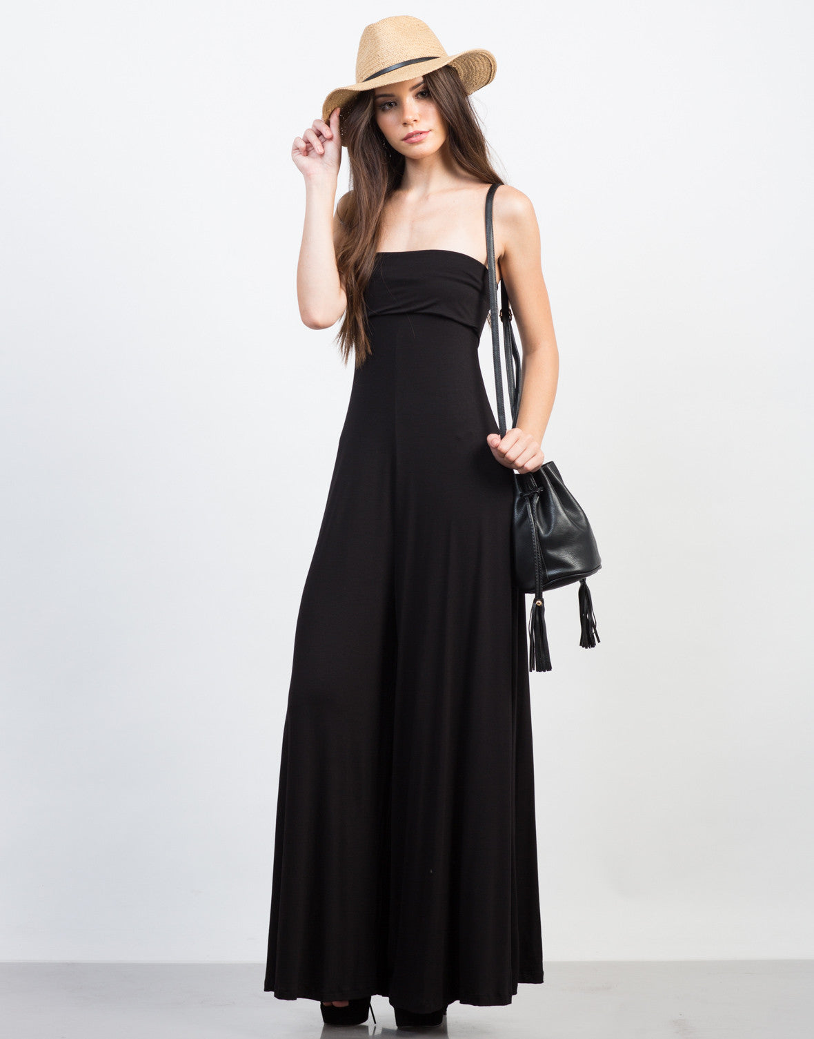 Front View of Strapless Jersey Jumpsuit