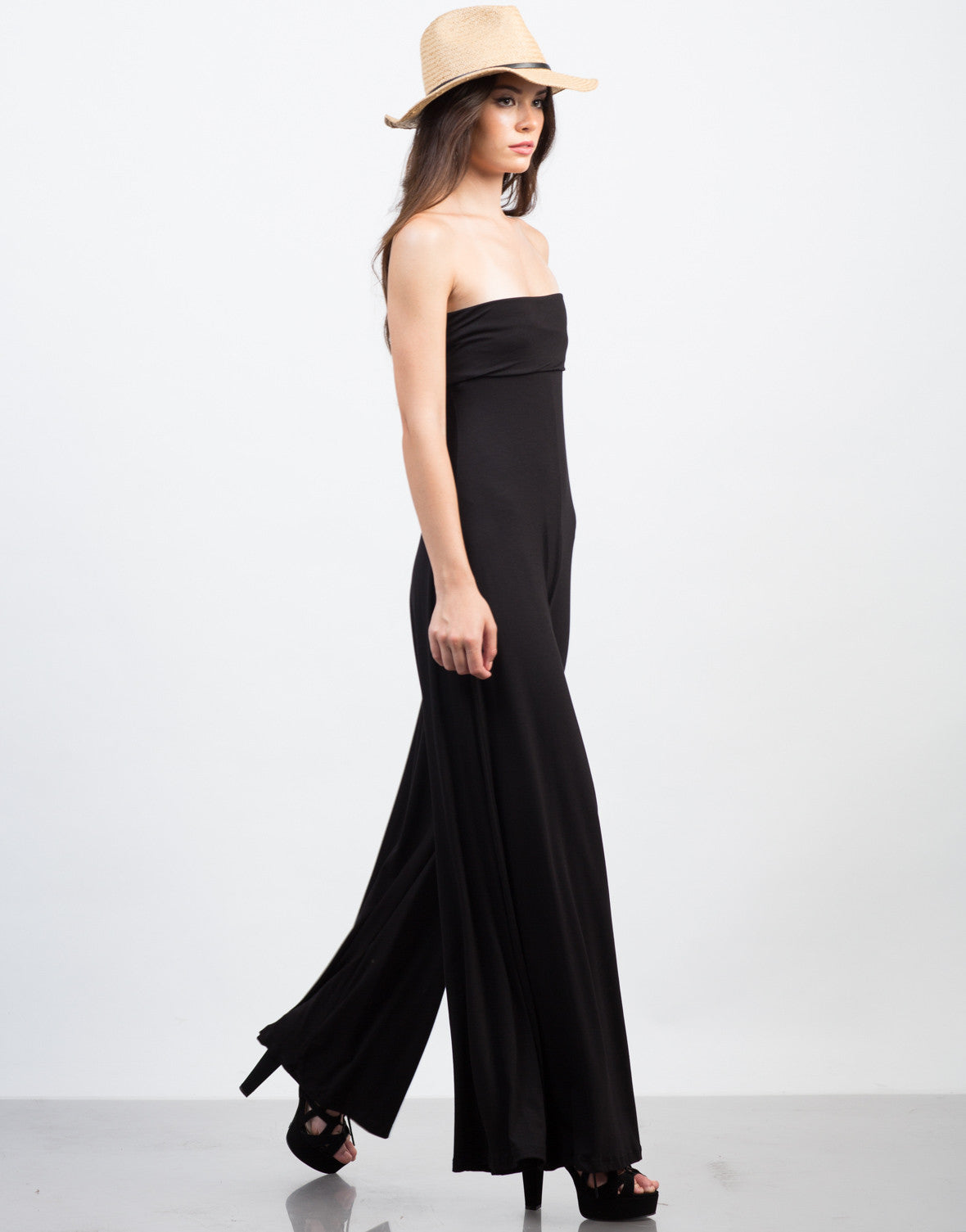 Side View of Strapless Jersey Jumpsuit