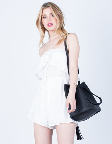 Front View of Strapless Ruffled Romper