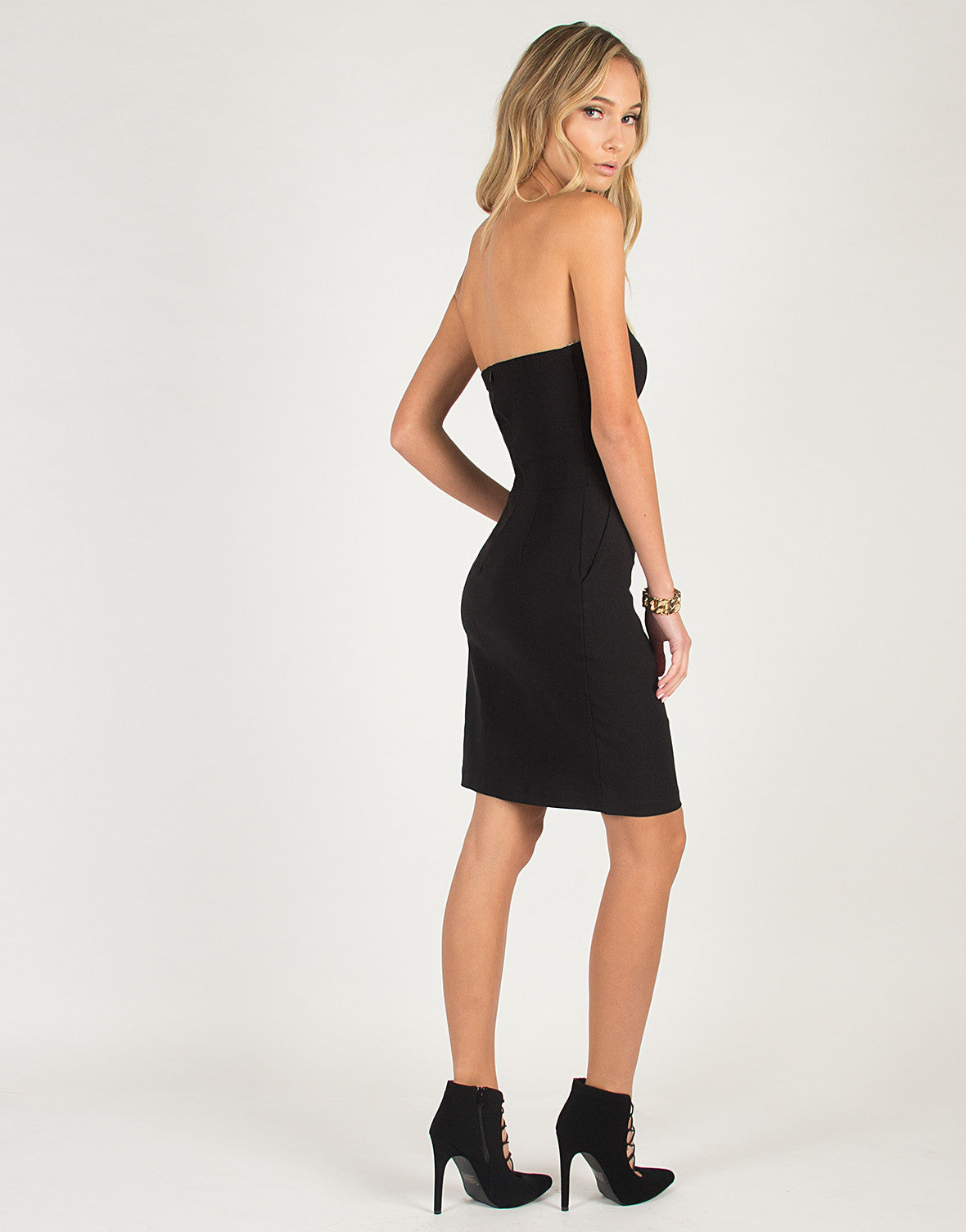 Strapless Bow Tie Dress - Black
