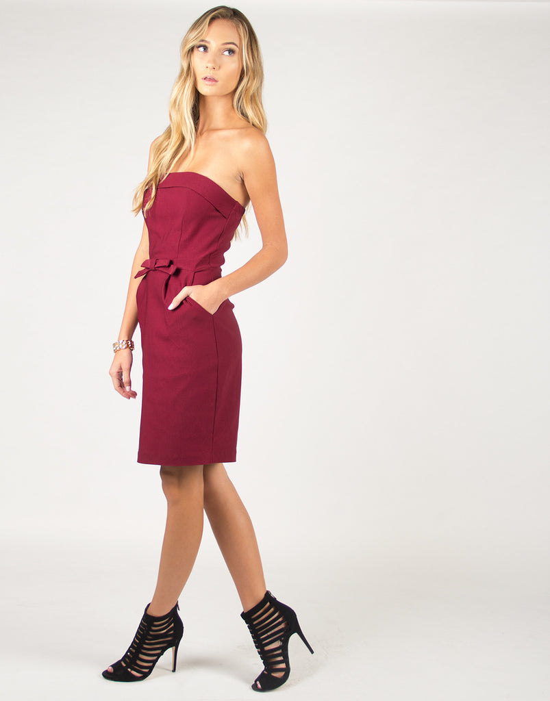 Strapless Bow Tie Dress - Wine - 2020AVE