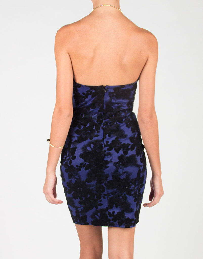 Strapless Floral Bodycon Dress - 2020AVE