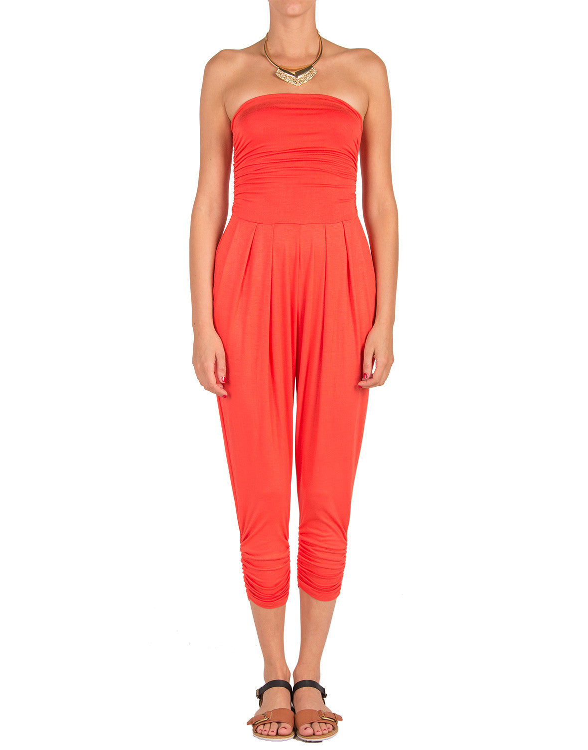 Strapless Jumpsuit - Red Orange - Medium