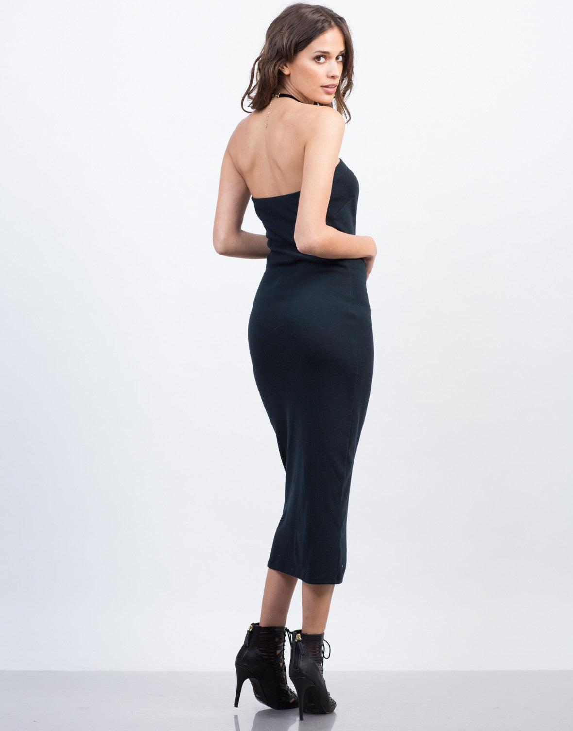 Back View of Strapless Midi Cotton Dress