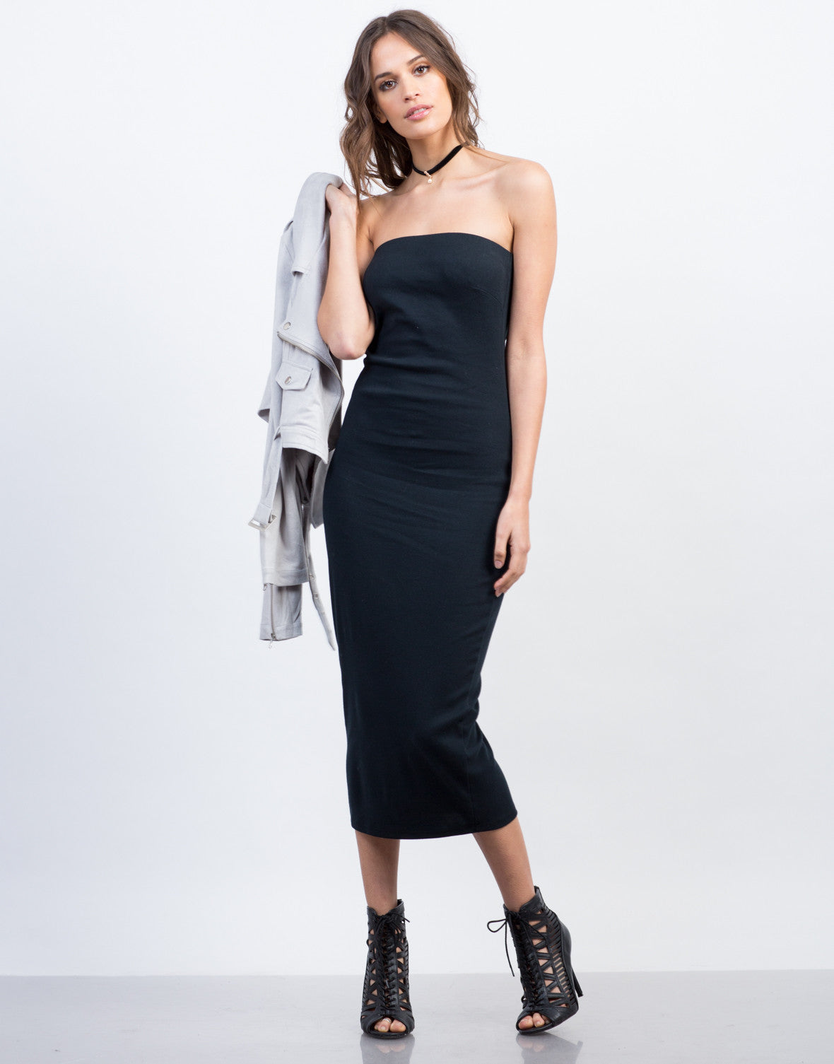 Front View of Strapless Midi Cotton Dress
