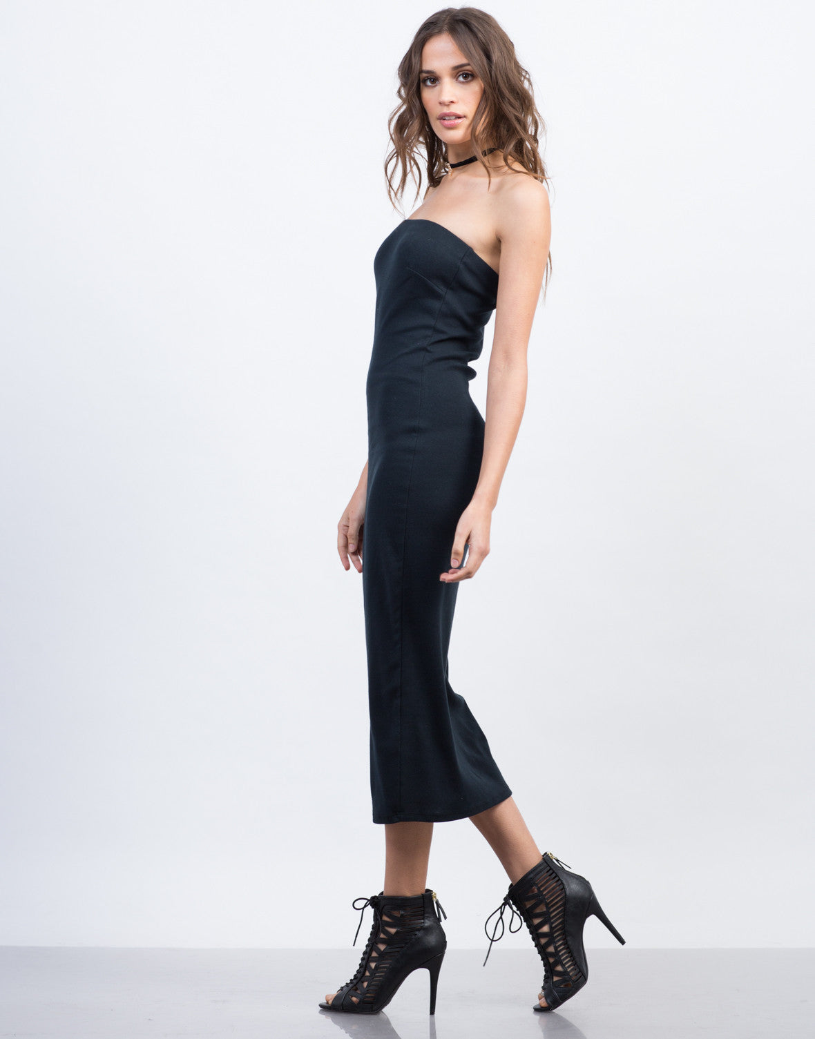 Side View of Strapless Midi Cotton Dress