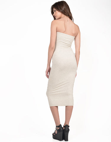 Back View of Strapless Ribbed Midi Dress
