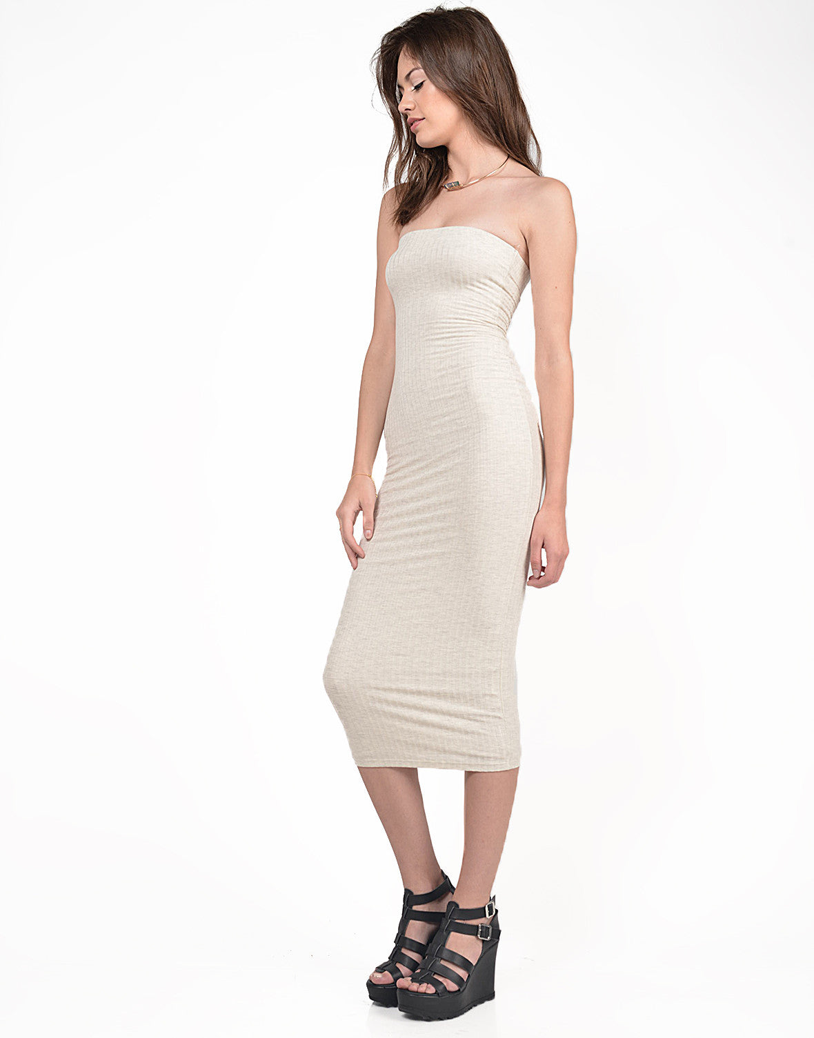 Detail of Strapless Ribbed Midi Dress
