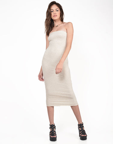Front View of Strapless Ribbed Midi Dress
