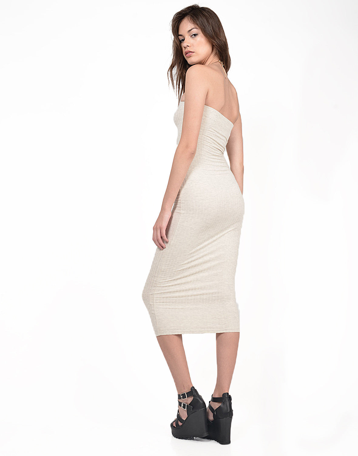 Side View of Strapless Ribbed Midi Dress