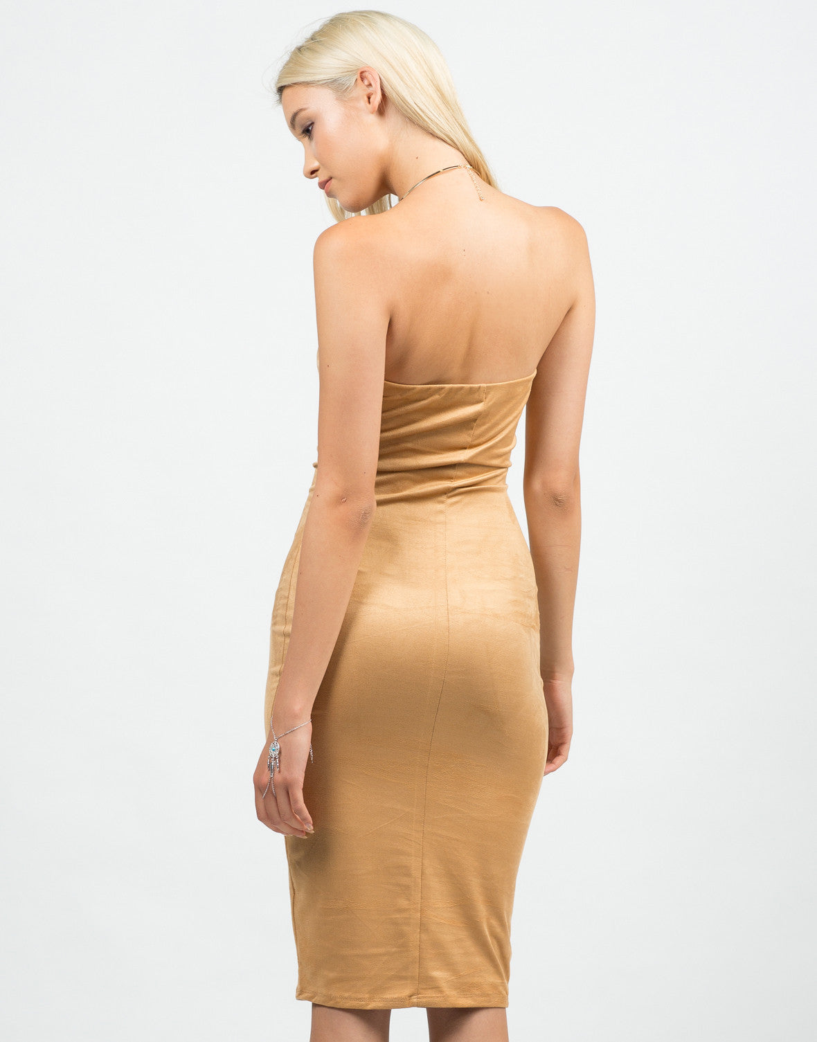 Back View of Strapless Suede Midi Dress