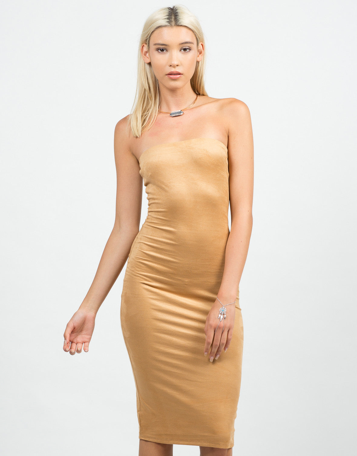 Front View of Strapless Suede Midi Dress