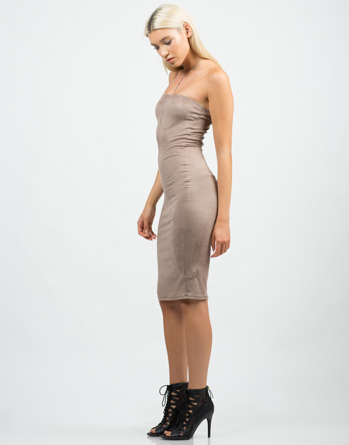 Side View of Strapless Suede Midi Dress