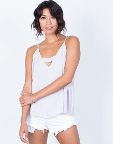 Front View of Strapped in Chiffon Tank
