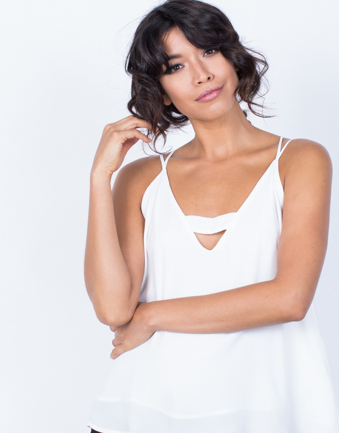 Detail of Strapped in Chiffon Tank