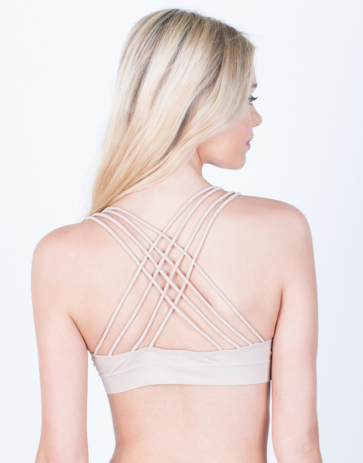 Back View of Strapped Up V-Neck Bralette
