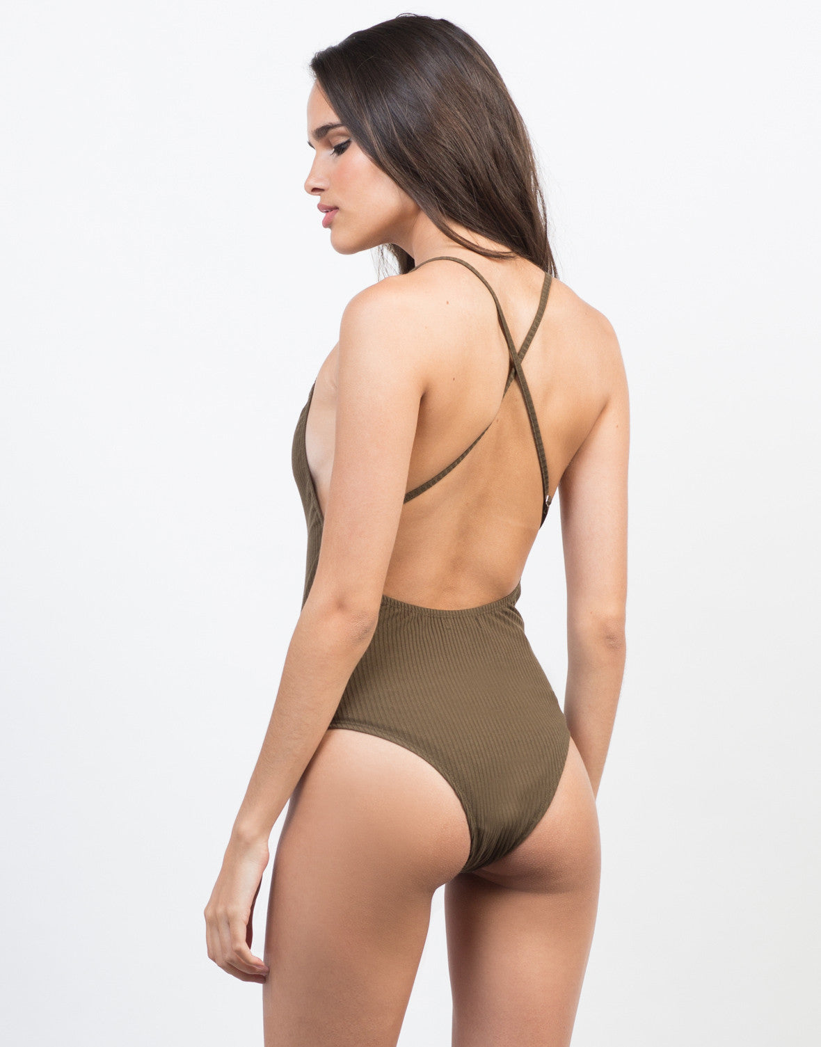 Back View of Strappy Back Ribbed Bodysuit