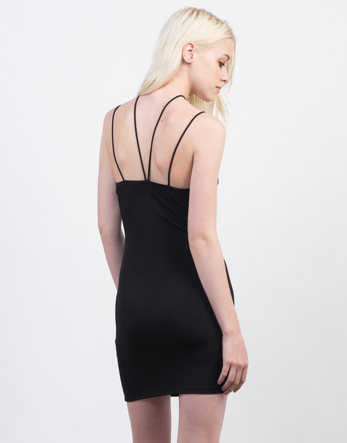 Back View of Strappy Black Dress